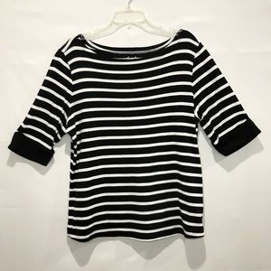 Kim Rogers Plus Size 1X Shirt Top Black & White
